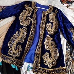 Vintage Midnight Blue and Gold Embellished Jacket
